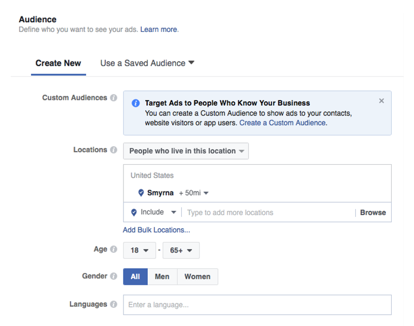 Facebook advertising step four choose the audience and detailed targeting | Three65 Marketing services for construction and restoration companies