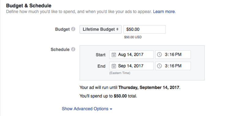 Facebook advertising setting up budget and schedule | Three65 Marketing services for construction and restoration companies