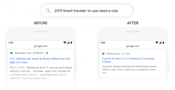 Google Algorithm BERT - Brazil Traveler Needs a Visa Search Example